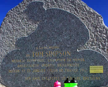 Memorial stone on Mont Ventoux